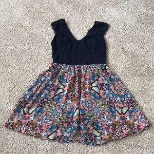 Butterfly dress with navy blue top